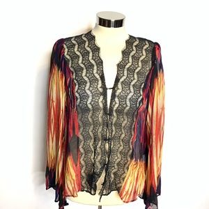 Love Sam Anthropologie bell sleeve lace top